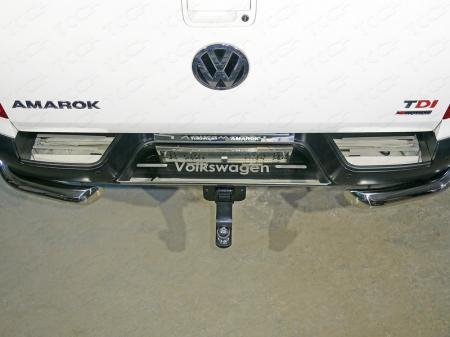 Volkswagen Amarok 2016-Накладки на задний бампер (лист зеркальный надпись Volkswagen)